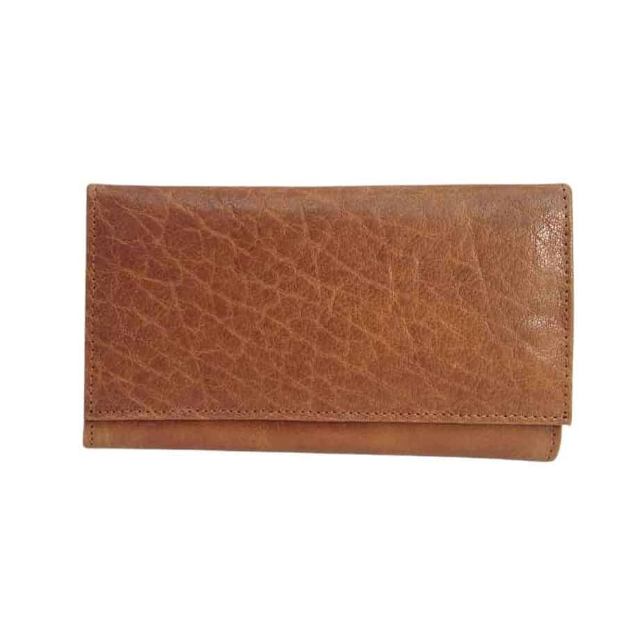 Tan Leather Flap Over Purse