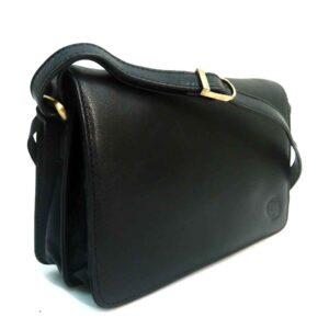 black polished leather designer handbag