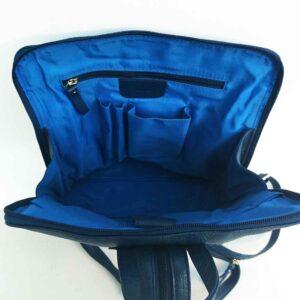 inside blue leather backpack