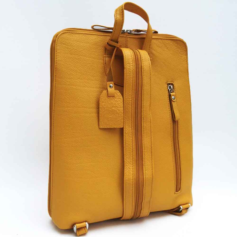 mustard yellow leather backpack