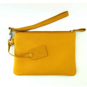 mustard yellow leather clutch makeup bag