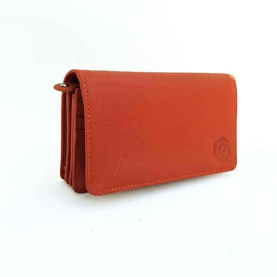 orange leather flap over purse