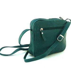 forest green leather slip pocket bag