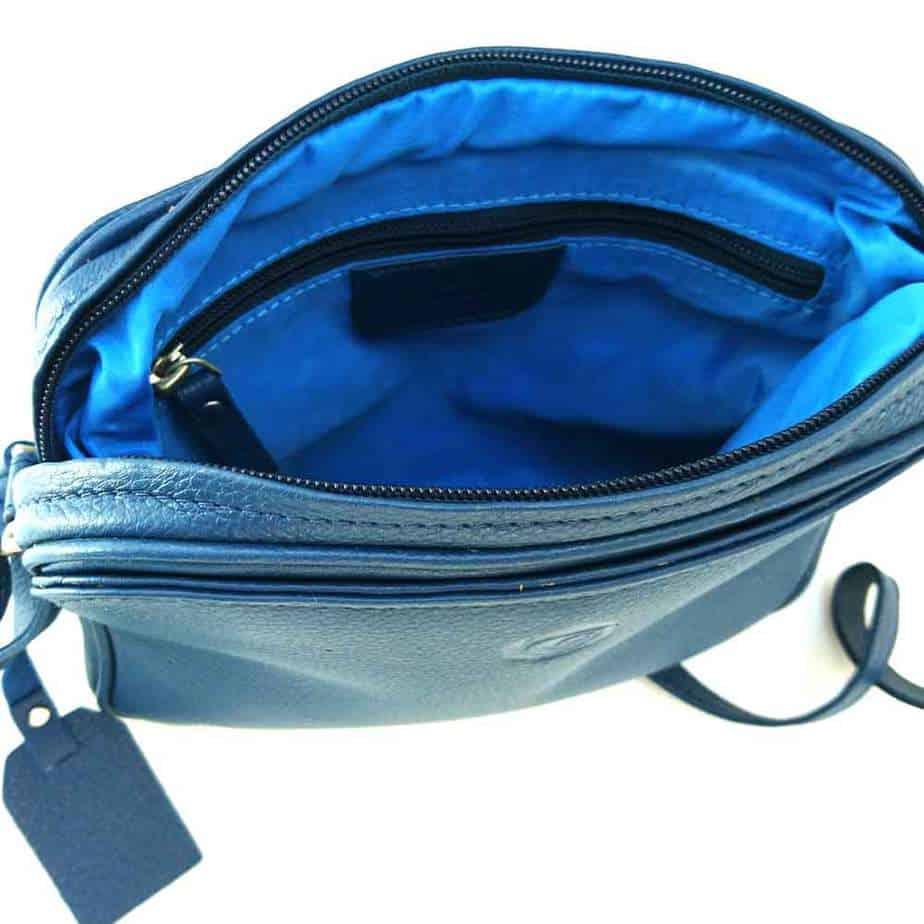 inside blue leather slip pocket handbag