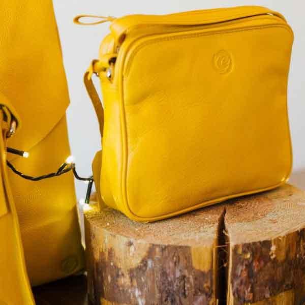 mustard leather slip pocket bag