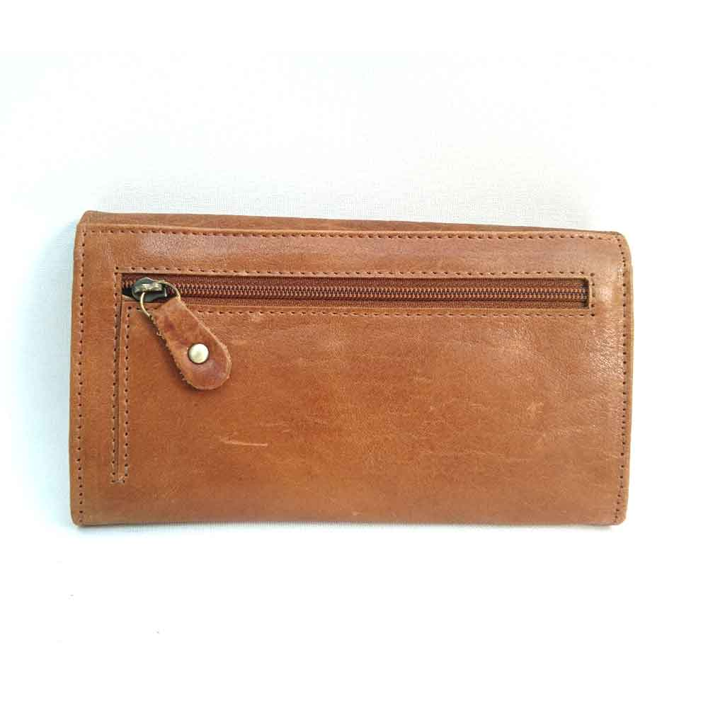 soft tan leather flap over purse
