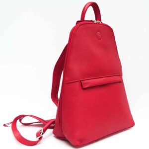 warm red leather slim backpack with convertible straps
