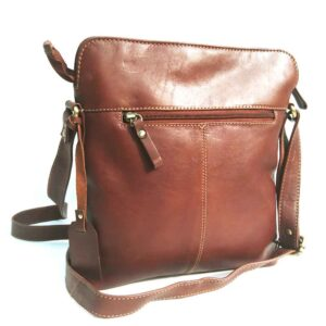 vegetable tanned leather crossbody bag in Tan Brown