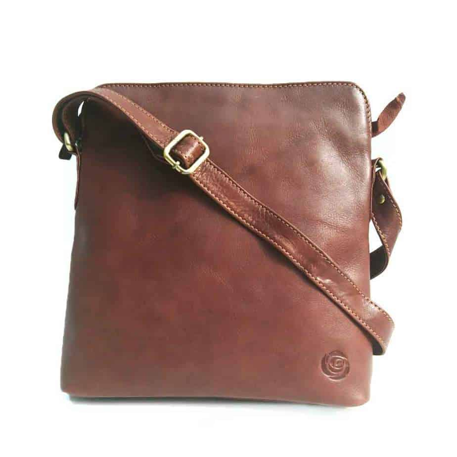 vegetable tanned leather crossbody bag in Tan